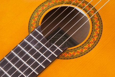 Photo for Detail of acoustic guitar. Close up picture. Selective focus - Royalty Free Image