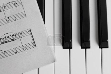 Photo for Piano keys closeup monochrome. Selective focus - Royalty Free Image