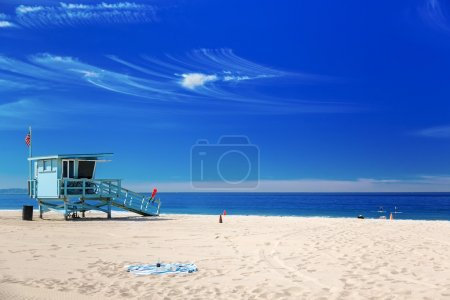 Lifeguard station with american flag on Hermosa beach, Californi