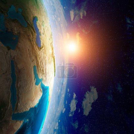Photo pour Terre depuis l'espace. éléments de cette image fournie par la nasa - image libre de droit