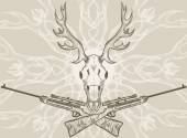 Deer skull and crossed rifles