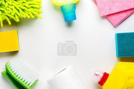 Photo for House cleaning products on white table. Top view. - Royalty Free Image