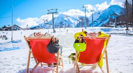 Couple at mountains in winter