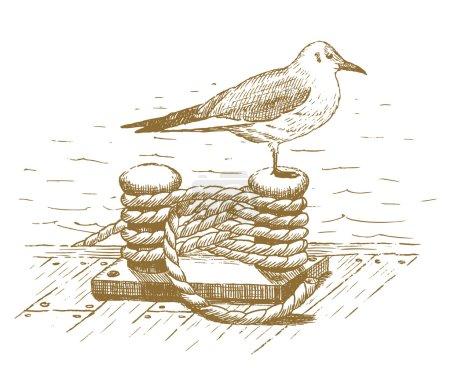 Seagull sitting on a bollard drawn by hand...