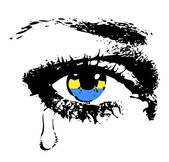 Crying eye with flag of Ukraine