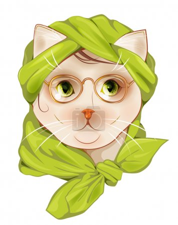 portrait of the hipster cat with glasses and  silk scarf