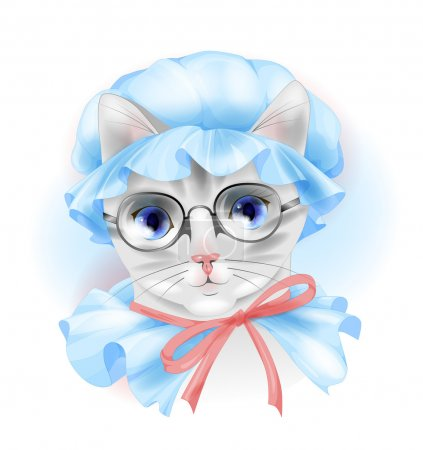 portrait of the vintage cat with glasses