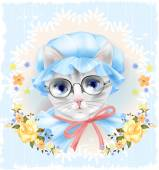 Vintage portrait of the cat with glasses and roses Victorian st