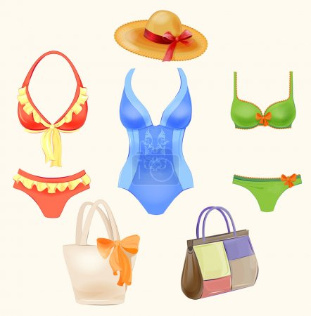 Set of swimsuits and  beach handbags