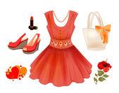 Fashion kit for girls Dress handbag flower lipstick and sand