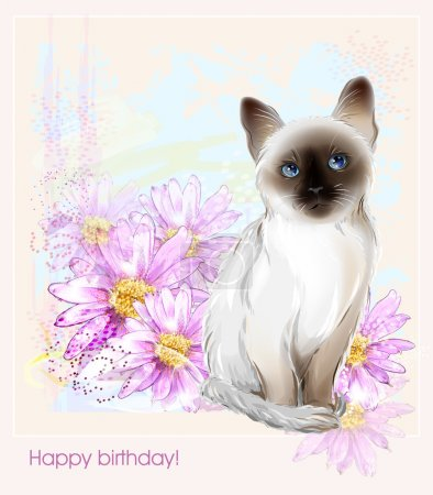 Birthday card with  thai kitten and gerberas