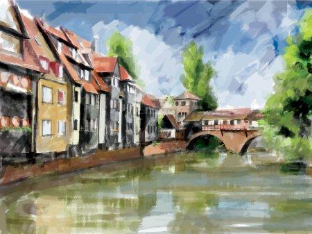 Illustration pour Illustration de la rue européenne. Style aquarelle . - image libre de droit