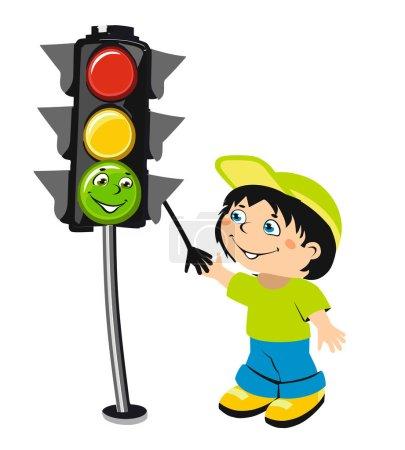 Cartoon boy and traffic light