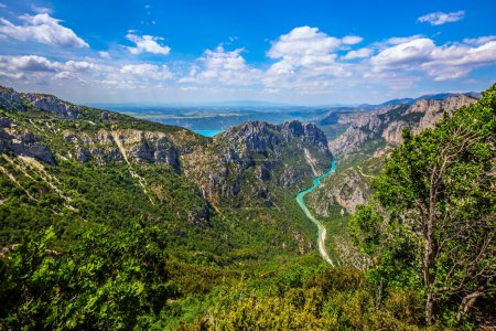 Photo for Canyon of Verdon, Provence, France. The largest alpine canyon in Europe in the spring. Magnificent May in the wooded mountains - Royalty Free Image