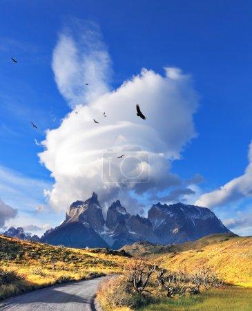 Photo pour Coucher de soleil incroyable dans la Patagonie chilienne. Nuages incroyables au-dessus des falaises de Los Kuernos dans le parc national Torres del Paine. Le chemin de terre mène à la chaîne de montagnes - image libre de droit