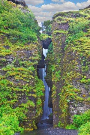 Abounding scenic waterfall