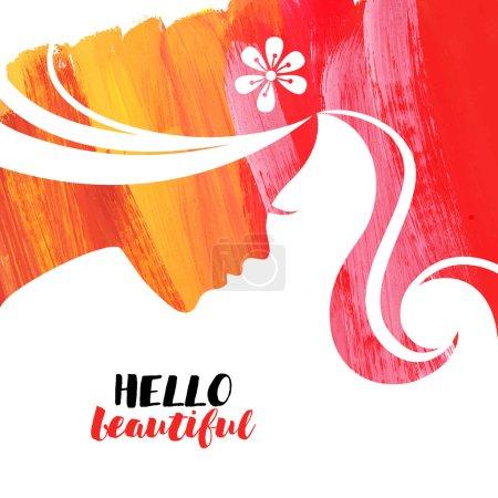 Illustration pour Acrylique belle fille. Illustration vectorielle de salon de beauté femme - image libre de droit