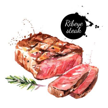 Watercolor ribeye steak.