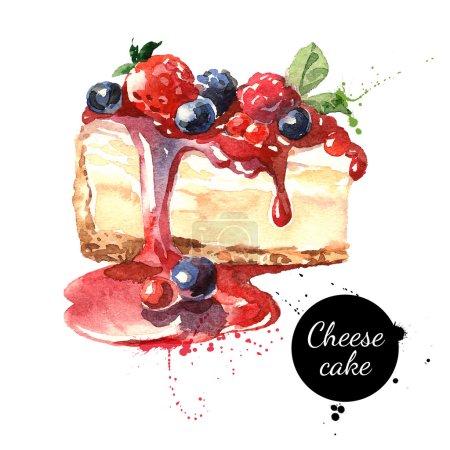 Illustration pour Dessert gâteau au fromage aquarelle. Illustration de nourriture isolée sur fond blanc - image libre de droit