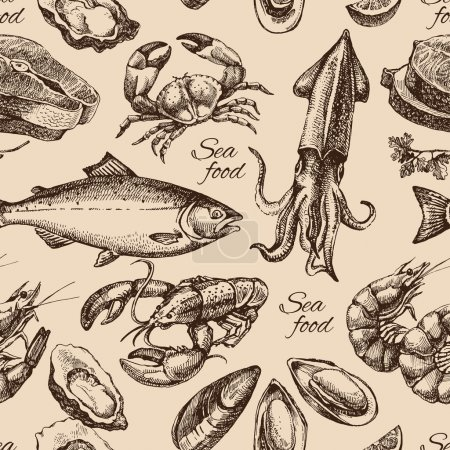 Illustration for Hand drawn sketch seafood seamless pattern. Vintage style vector illustration - Royalty Free Image