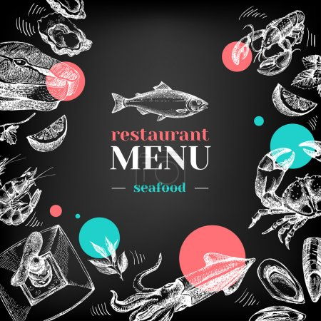 Illustration for Restaurant chalkboard menu. Hand drawn sketch sea food vector illustration - Royalty Free Image