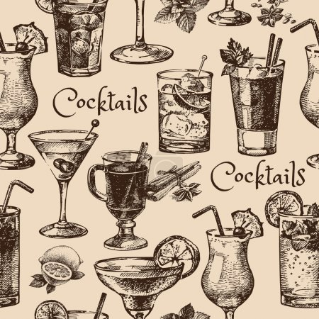Illustration for Hand drawn sketch seamless pattern of alcoholic cocktails. Vector illustration - Royalty Free Image