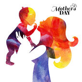 Watercolor mother silhouette with her baby