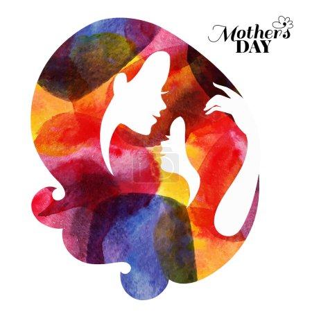 Illustration pour Silhouette mère aquarelle avec son bébé. Carte de Bonne Fête des Mères. Illustration vectorielle avec belle femme et enfant - image libre de droit