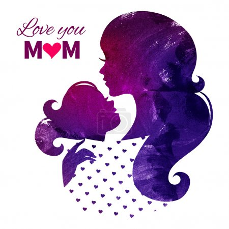 Card of Happy Mothers Day. Beautiful mother silhouette