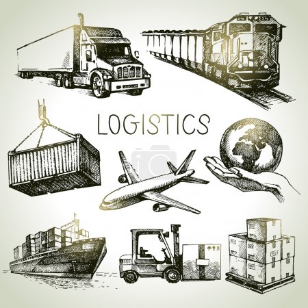 Hand drawn logistics and delivery sketch icons set