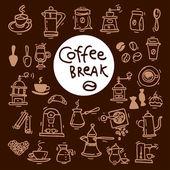 Sketch doodle coffee icon set Hand drawn vector illustrations Menu design elements