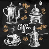 Hand drawn sketch coffee set Vector illustration Chalkboard menu design for cafe and restaurant
