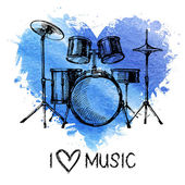 Music background with splash watercolor heart and sketch