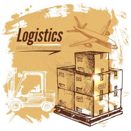 Illustration pour Croquis logistique et historique de livraison. Illustration vectorielle dessinée main - image libre de droit