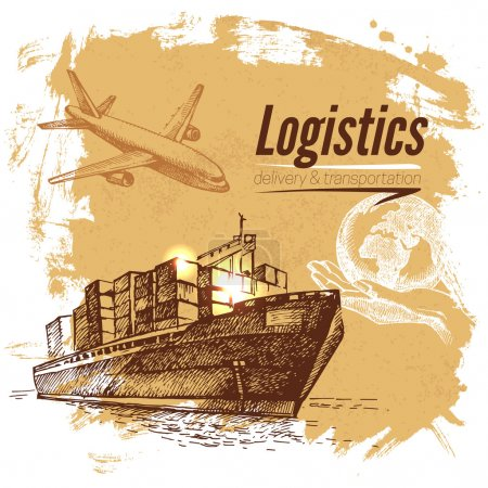 Sketch logistics and delivery background