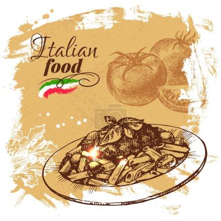 Illustration pour Esquisse dessinée à la main Fond alimentaire italien.Illustration vectorielle. Restaurant menu design - image libre de droit