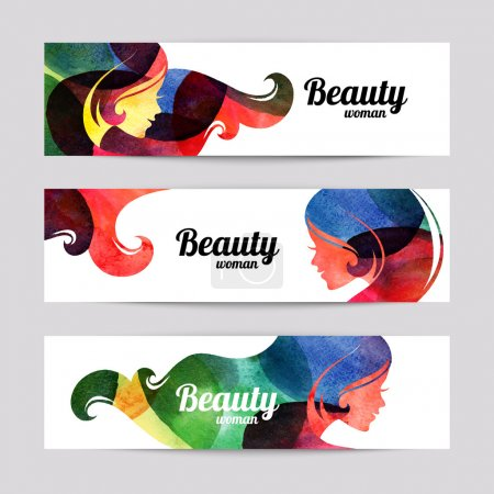 Illustration pour Ensemble de bannières avec aquarelle belles silhouettes de fille. Illustration vectorielle de la conception de salon de beauté femme - image libre de droit