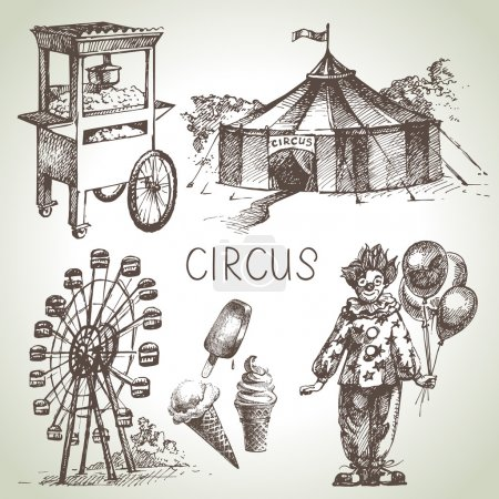 Hand drawn sketch circus and amusement vector illustrations