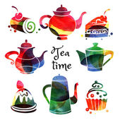 watercolor teapots and sweet cakes