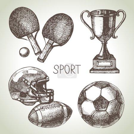 Hand drawn sports set.