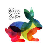 Ester card with watercolor rabbit