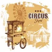 Hand drawn sketch circus and amusement