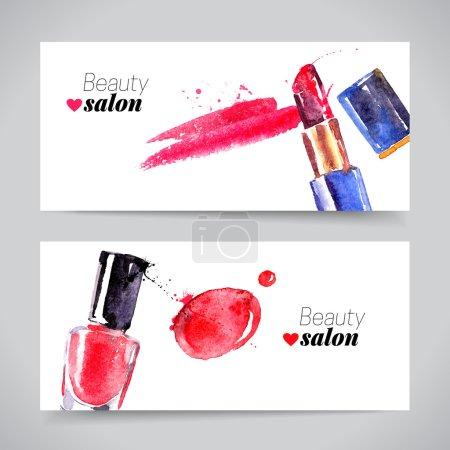 Watercolor cosmetics banner set.