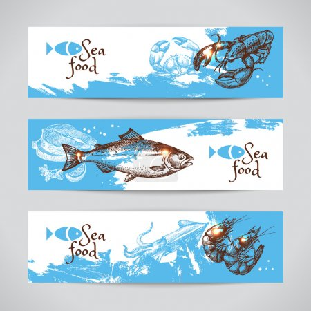 Hand drawn sketch seafood  banners.