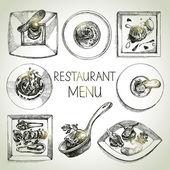 Hand drawn sketch restaurant food set