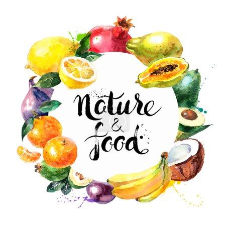 Illustration pour Menu éco-alimentaire fond. Aquarelle dessinée à la main fruits. Illustration vectorielle - image libre de droit