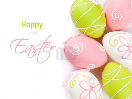 Photo for Colorful easter eggs. Isolated on white background with copy space - Royalty Free Image