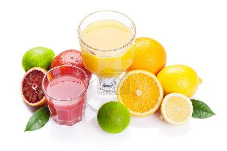 Fresh ripe citruses and juice