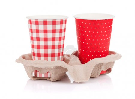 Two paper cups with takeaway drinks