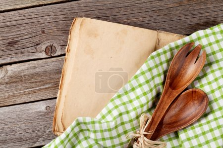 Photo for Blank vintage recipe cooking book and utensils. Top view with copy space - Royalty Free Image